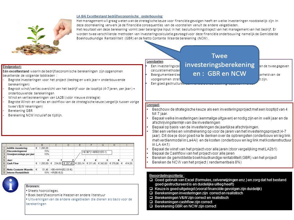 Twee investeringsberekeningen : GBR en NCW