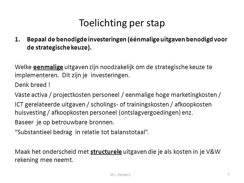 Toelichting per stap Bepaal de benodigde investeringen (éénmalige uitgaven benodigd voor de strategische keuze).