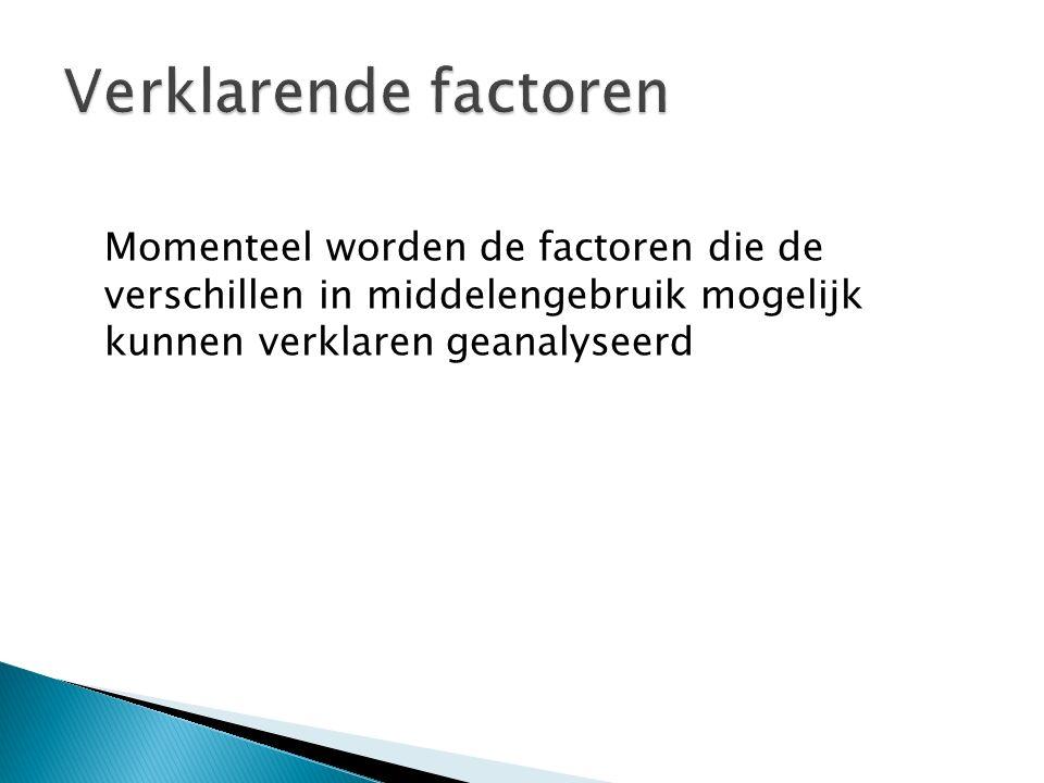 Verklarende factoren Momenteel worden de factoren die de verschillen in middelengebruik mogelijk kunnen verklaren geanalyseerd.