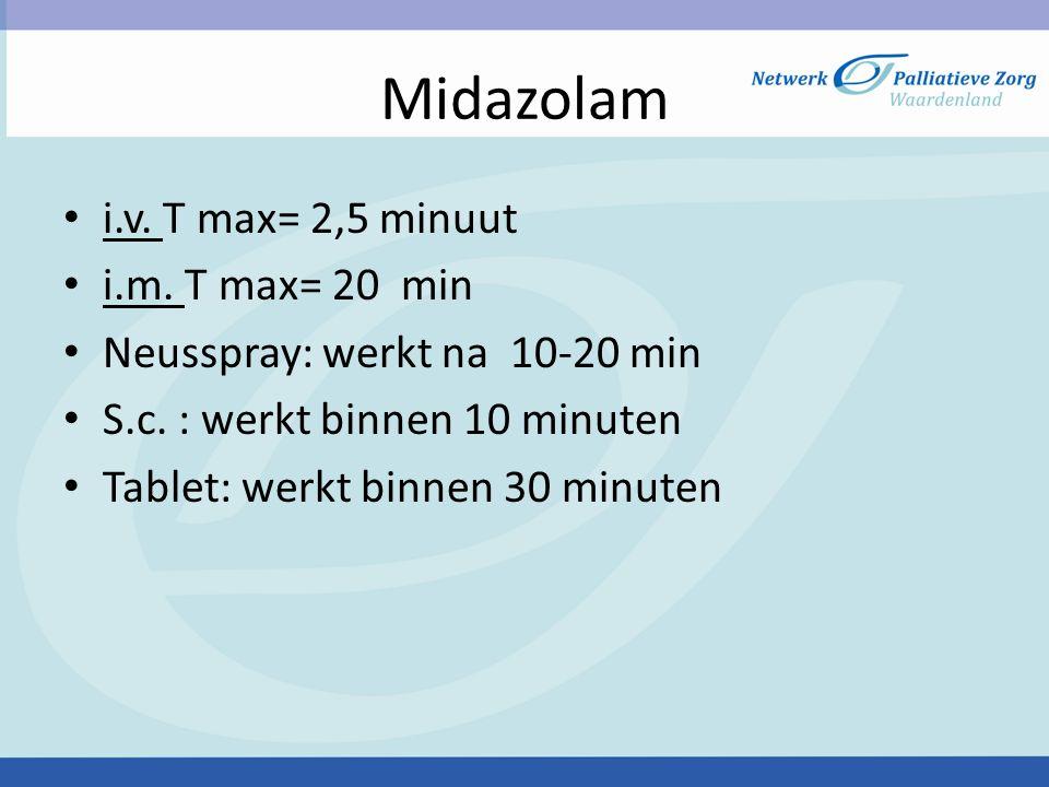 Midazolam i.v. T max= 2,5 minuut i.m. T max= 20 min