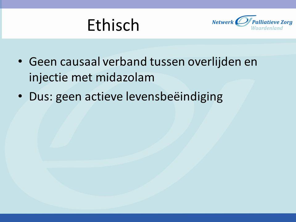 Ethisch Geen causaal verband tussen overlijden en injectie met midazolam.