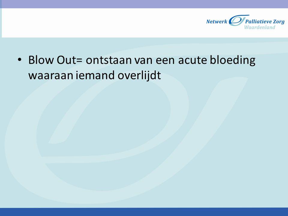 Blow Out= ontstaan van een acute bloeding waaraan iemand overlijdt