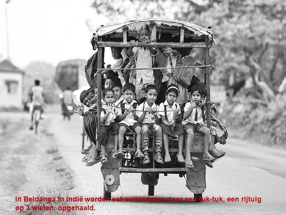 In Beldanga in Indië worden schoolkinderen door een tuk-tuk, een rijtuig