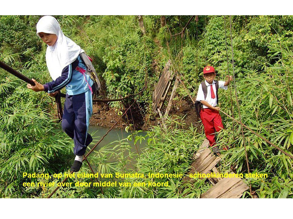 Padang, op het eiland van Sumatra, Indonesië: schoolkinderen steken