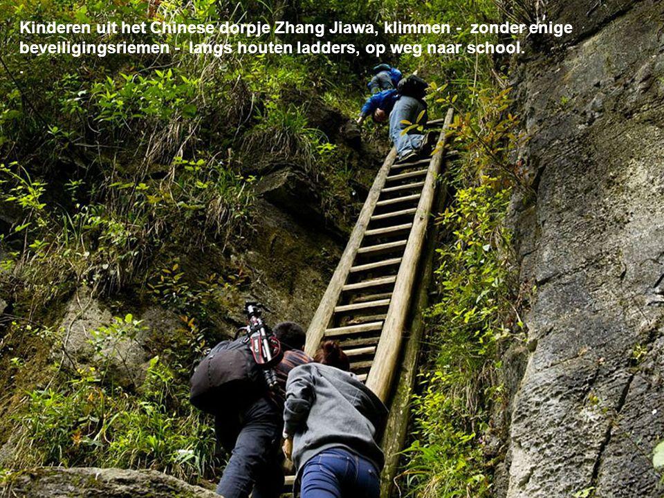 Kinderen uit het Chinese dorpje Zhang Jiawa, klimmen - zonder enige