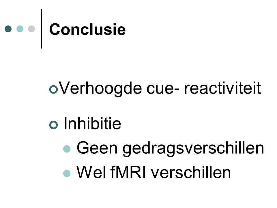 Verhoogde cue- reactiviteit Inhibitie Geen gedragsverschillen