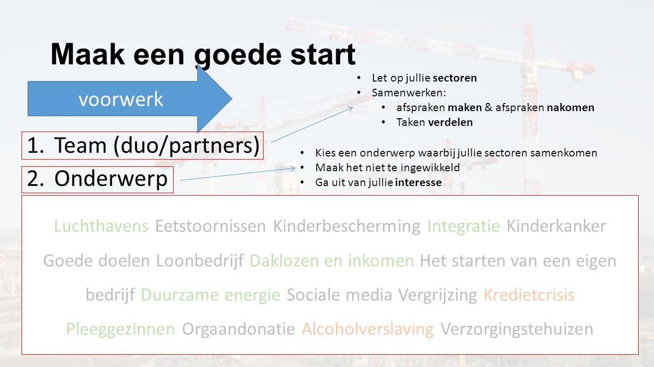 Maak een goede start Team (duo/partners) Onderwerp Hoofdvraag