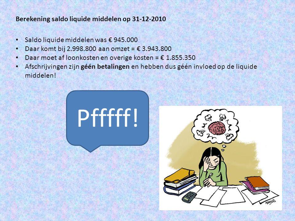 Pfffff! Berekening saldo liquide middelen op 31-12-2010
