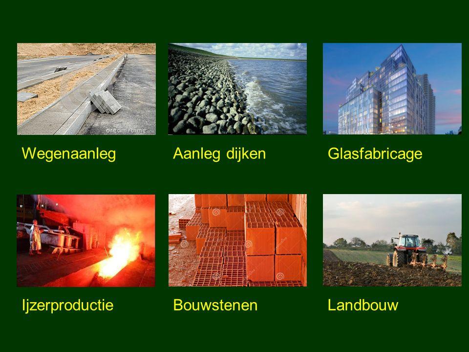 Wegenaanleg Aanleg dijken Glasfabricage Ijzerproductie Bouwstenen Landbouw