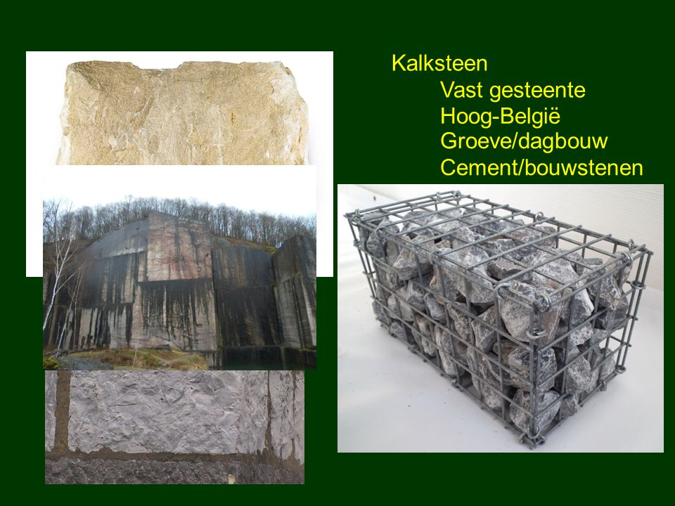 Kalksteen Vast gesteente Hoog-België Groeve/dagbouw Cement/bouwstenen