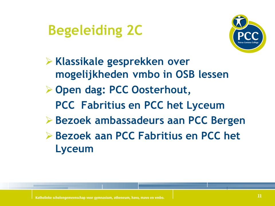 Begeleiding 2C Klassikale gesprekken over mogelijkheden vmbo in OSB lessen. Open dag: PCC Oosterhout,