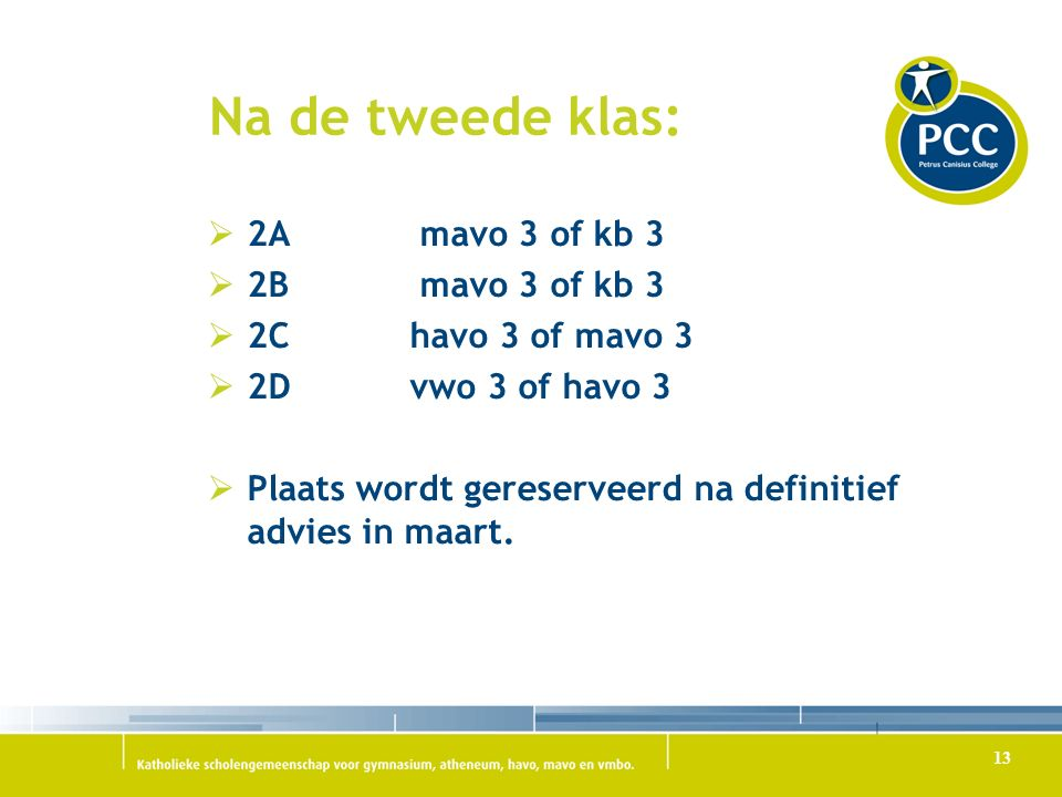 Na de tweede klas: 2A mavo 3 of kb 3 2B mavo 3 of kb 3