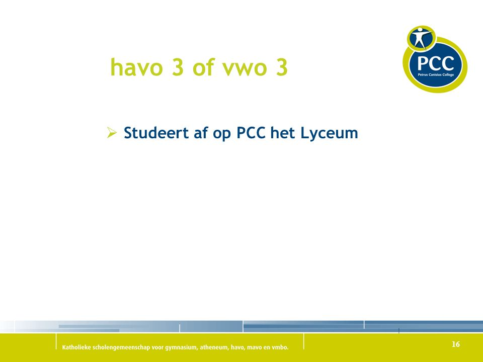 havo 3 of vwo 3 Studeert af op PCC het Lyceum