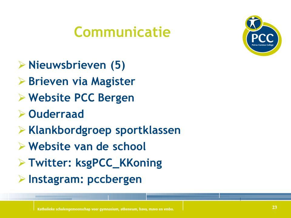 Communicatie Nieuwsbrieven (5) Brieven via Magister Website PCC Bergen