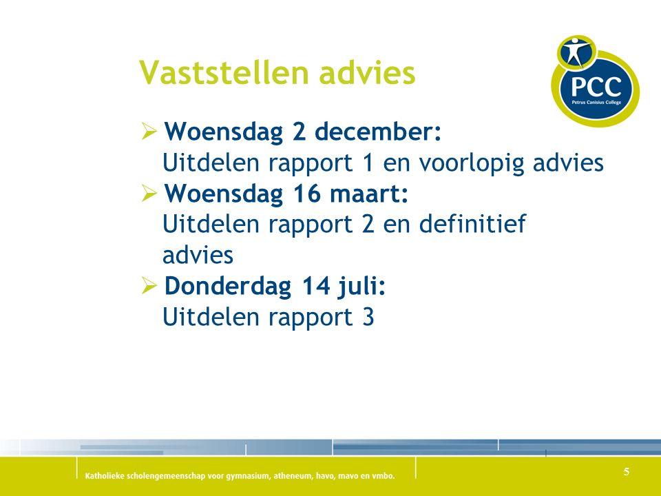 Vaststellen advies Woensdag 2 december: