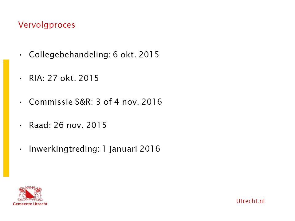 Vervolgproces Collegebehandeling: 6 okt. 2015. RIA: 27 okt. 2015. Commissie S&R: 3 of 4 nov. 2016.