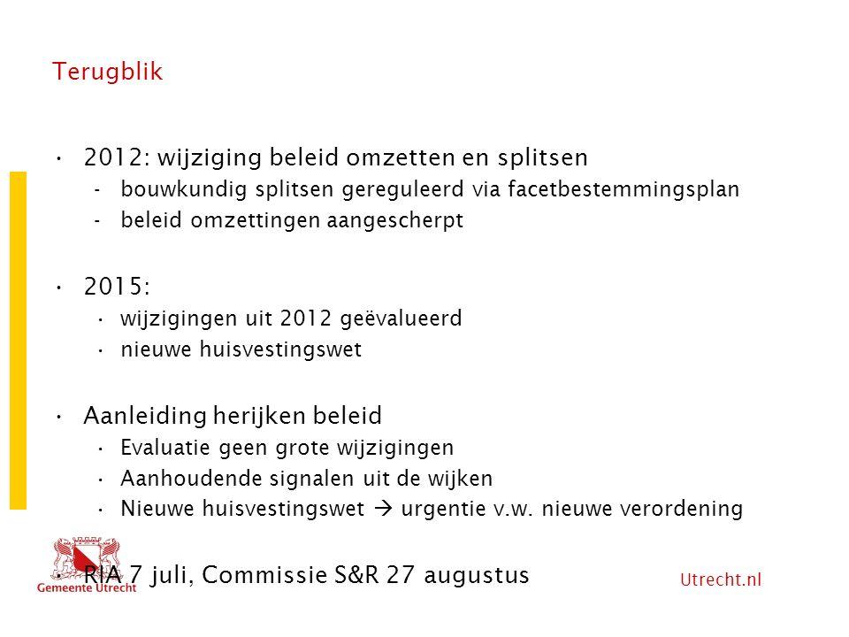2012: wijziging beleid omzetten en splitsen