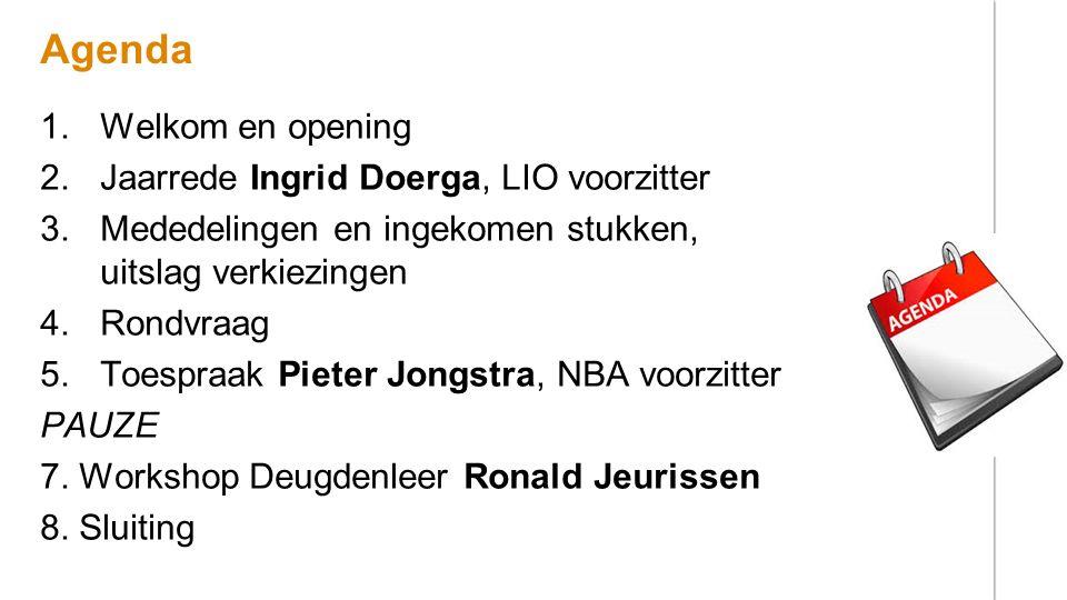 Agenda Welkom en opening Jaarrede Ingrid Doerga, LIO voorzitter