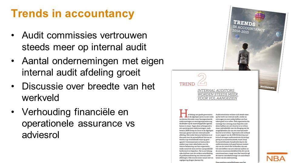 Trends in accountancy Audit commissies vertrouwen steeds meer op internal audit. Aantal ondernemingen met eigen internal audit afdeling groeit.