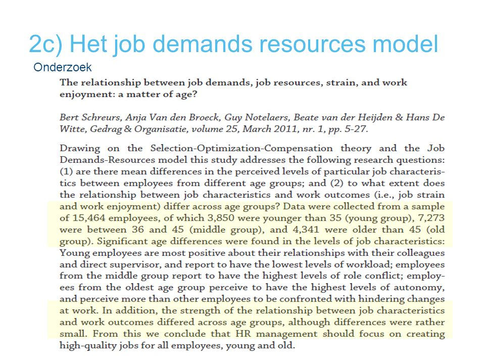 2c) Het job demands resources model