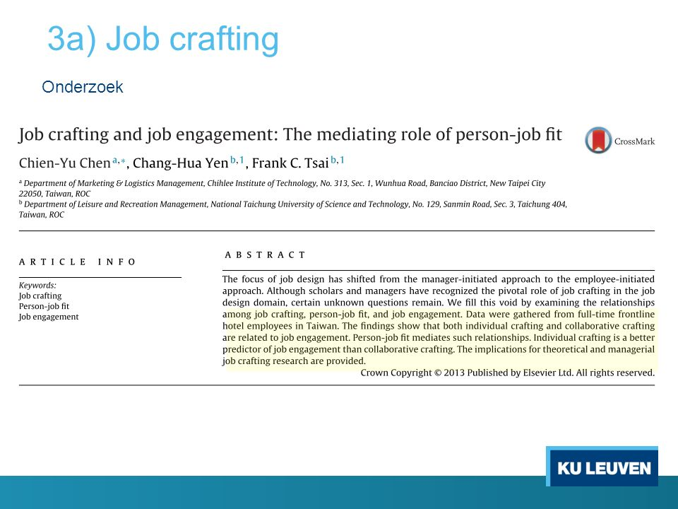 3a) Job crafting Onderzoek