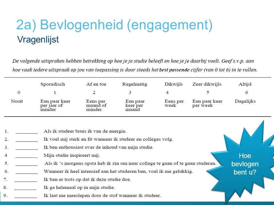 2a) Bevlogenheid (engagement)