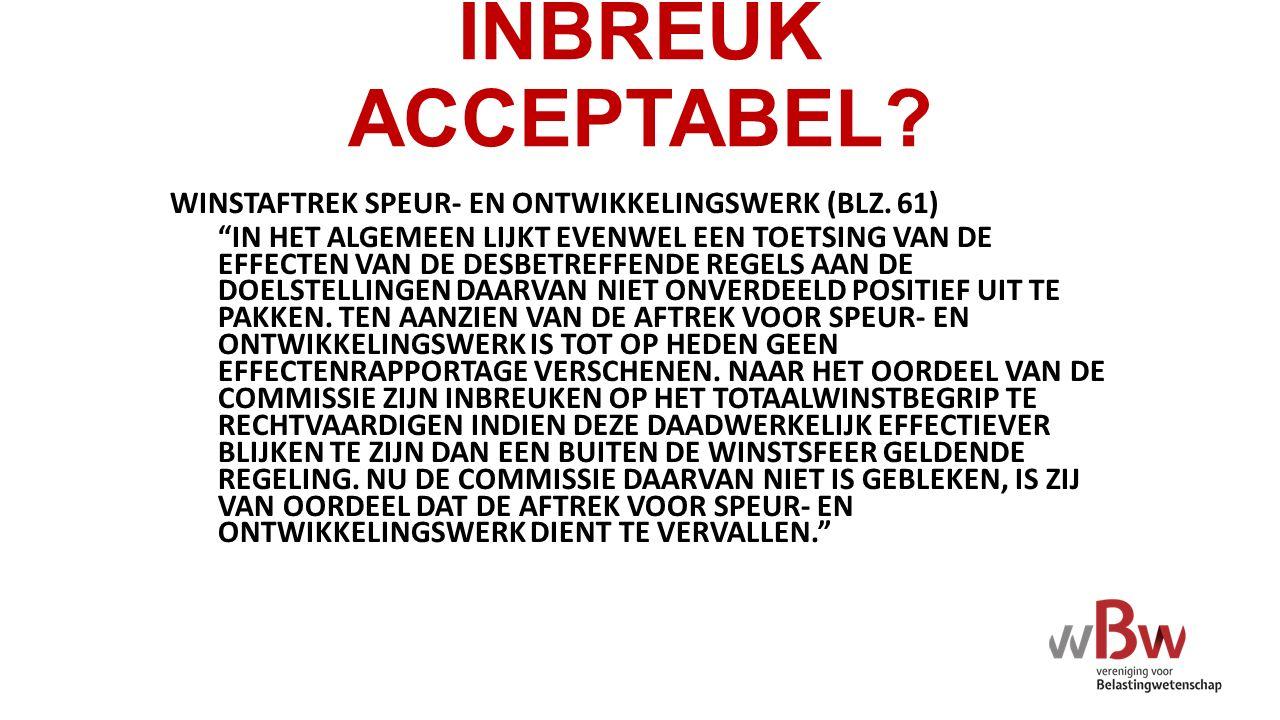 INBREUK ACCEPTABEL WINSTAFTREK SPEUR- EN ONTWIKKELINGSWERK (BLZ. 61)