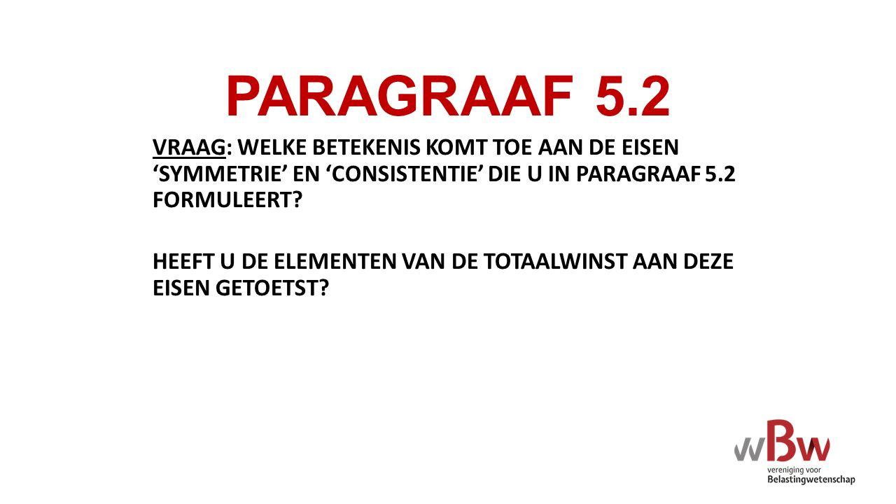 PARAGRAAF 5.2 VRAAG: WELKE BETEKENIS KOMT TOE AAN DE EISEN 'SYMMETRIE' EN 'CONSISTENTIE' DIE U IN PARAGRAAF 5.2 FORMULEERT