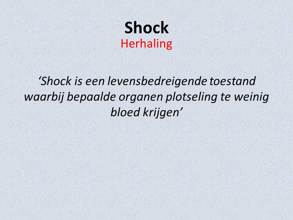 Shock Herhaling 'Shock is een levensbedreigende toestand waarbij bepaalde organen plotseling te weinig bloed krijgen'