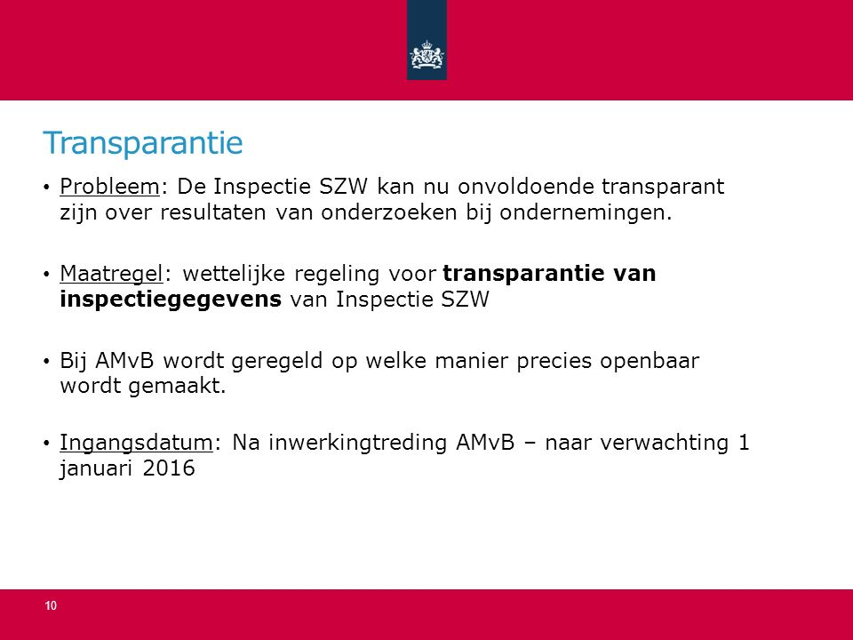 Transparantie Probleem: De Inspectie SZW kan nu onvoldoende transparant zijn over resultaten van onderzoeken bij ondernemingen.