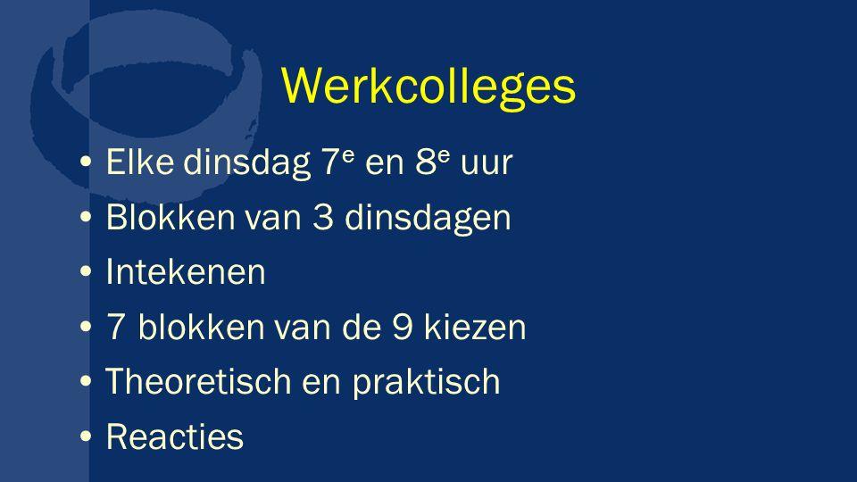 Werkcolleges Elke dinsdag 7e en 8e uur Blokken van 3 dinsdagen
