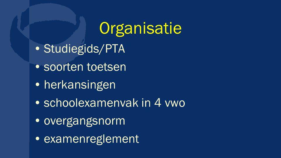 Organisatie Studiegids/PTA soorten toetsen herkansingen
