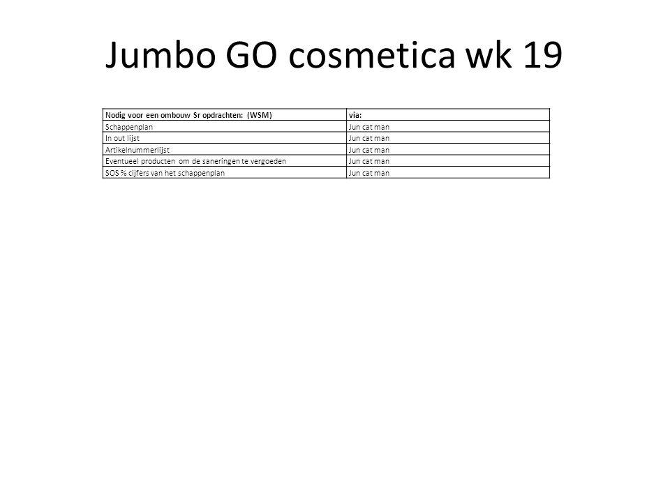 Jumbo GO cosmetica wk 19 Nodig voor een ombouw Sr opdrachten: (WSM)
