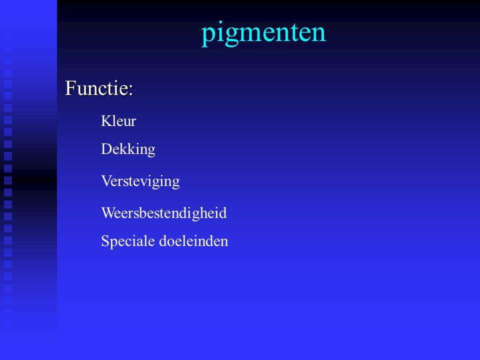 pigmenten Functie: Kleur Dekking Versteviging Weersbestendigheid
