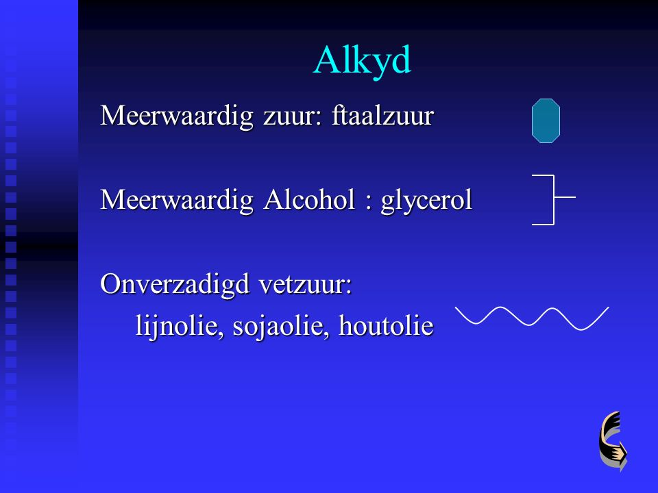 Alkyd Meerwaardig zuur: ftaalzuur Meerwaardig Alcohol : glycerol