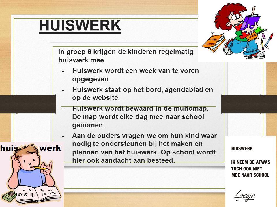 HUISWERK In groep 6 krijgen de kinderen regelmatig huiswerk mee.