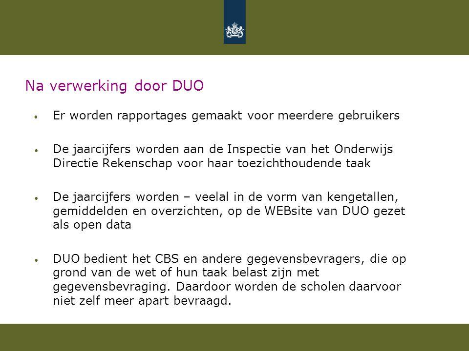 Na verwerking door DUO Er worden rapportages gemaakt voor meerdere gebruikers.