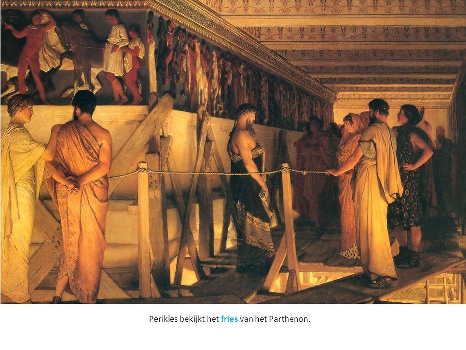 Perikles bekijkt het fries van het Parthenon.