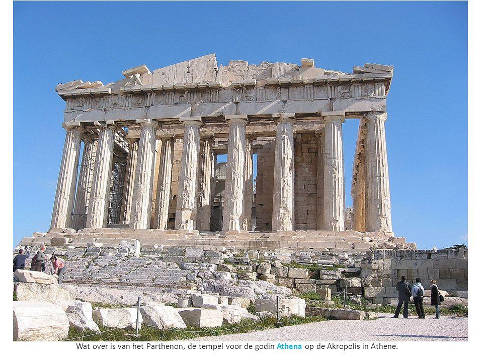 Wat over is van het Parthenon, de tempel voor de godin Athena op de Akropolis in Athene.
