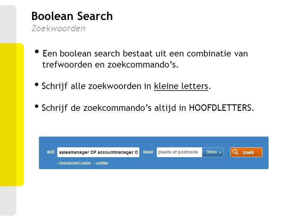 Boolean Search Zoekwoorden