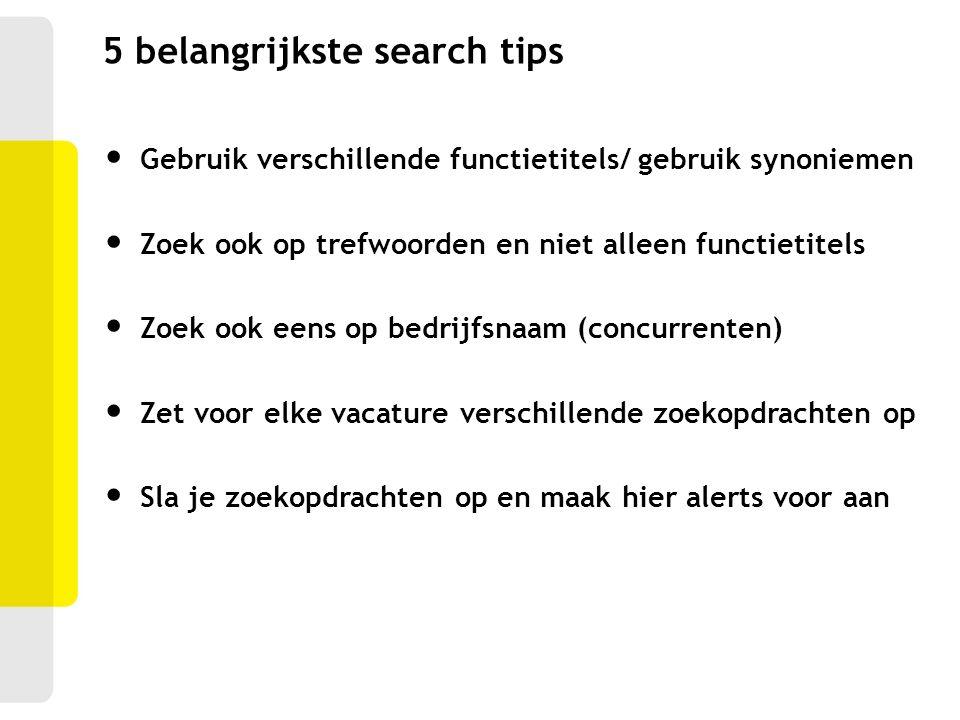 5 belangrijkste search tips