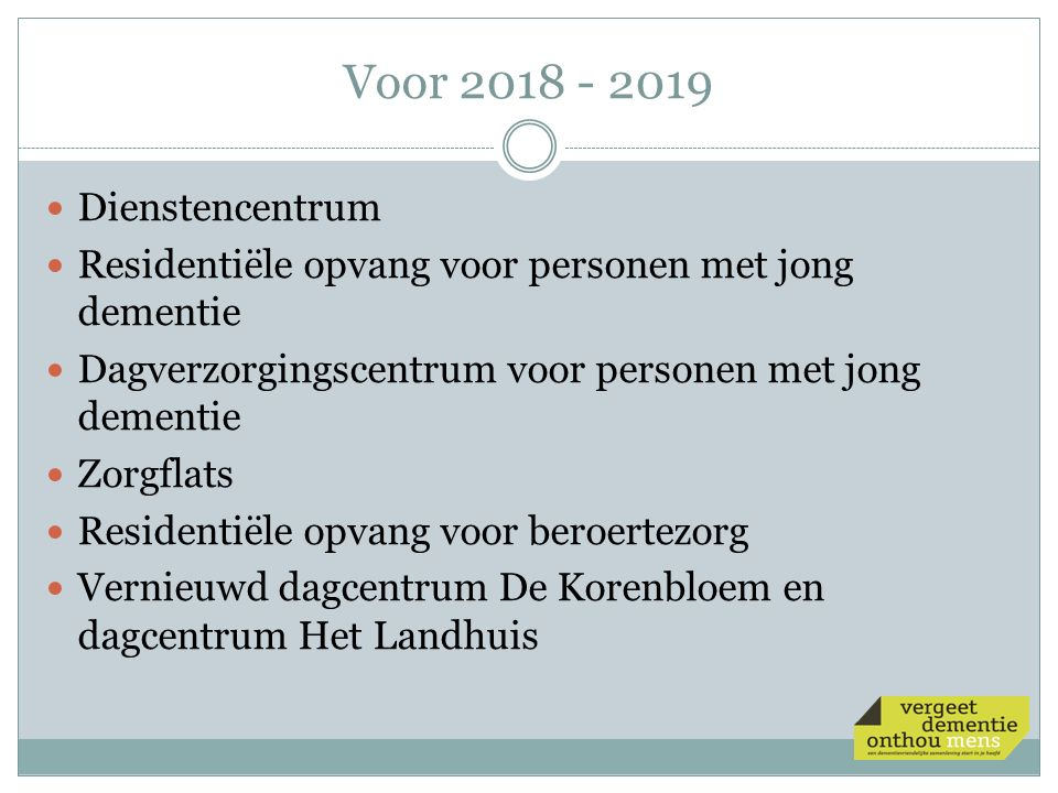 Voor 2018 - 2019 Dienstencentrum