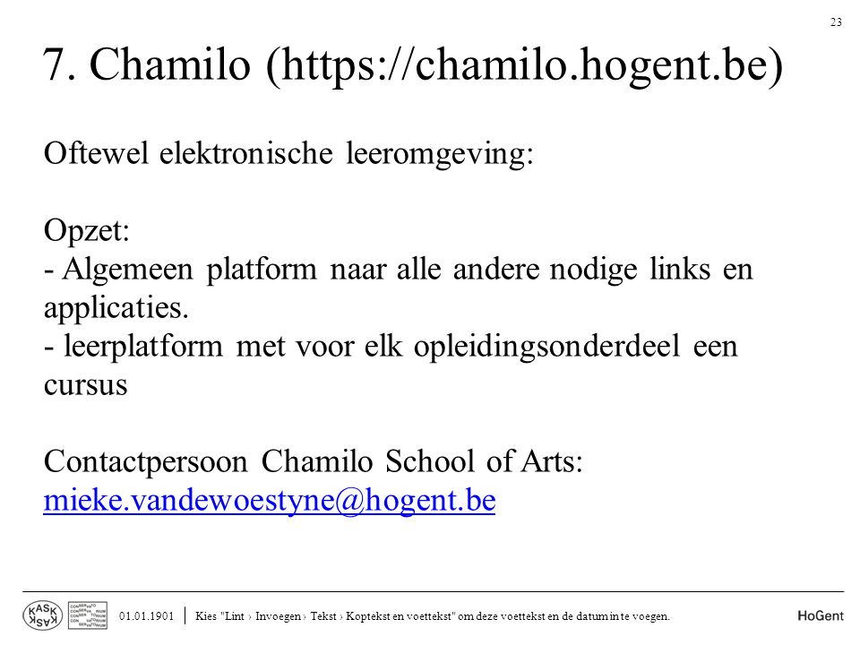 7. Chamilo (https://chamilo.hogent.be)