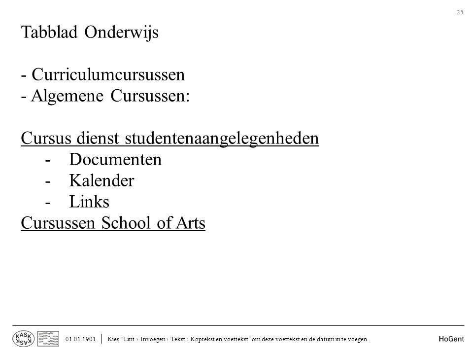 - Curriculumcursussen - Algemene Cursussen:
