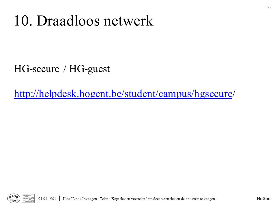 10. Draadloos netwerk HG-secure / HG-guest