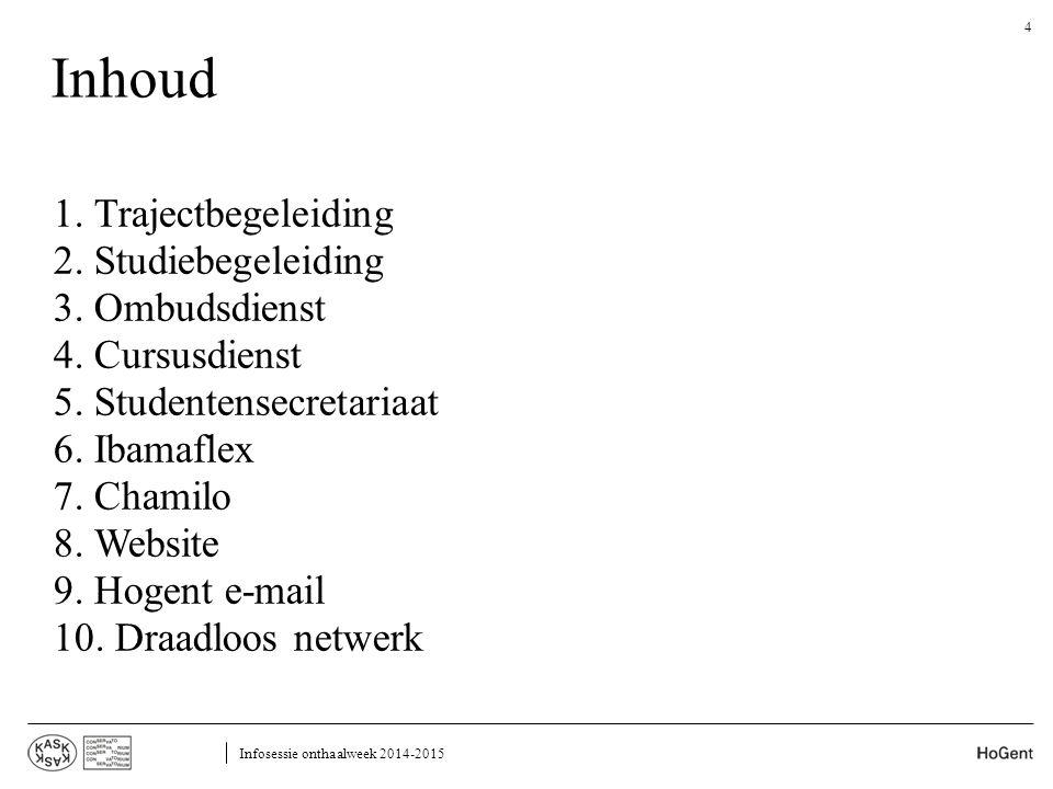 Inhoud 1. Trajectbegeleiding 2. Studiebegeleiding 3. Ombudsdienst