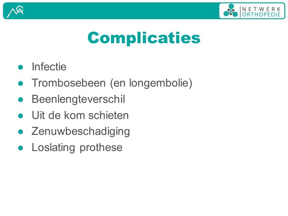 Complicaties Infectie Trombosebeen (en longembolie) Beenlengteverschil