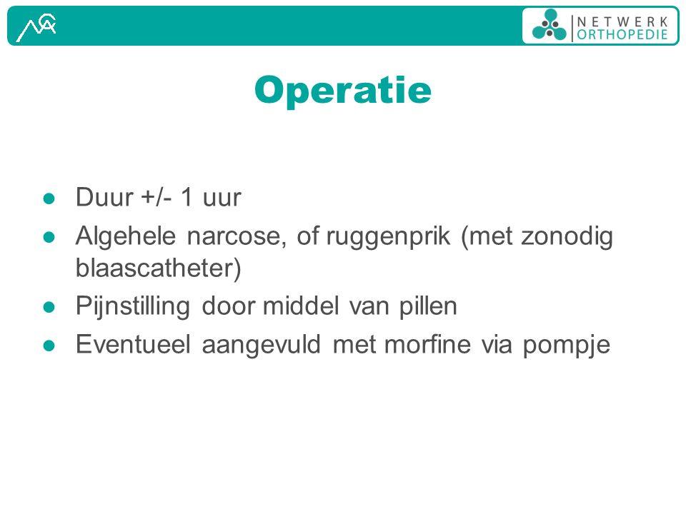 Operatie Duur +/- 1 uur. Algehele narcose, of ruggenprik (met zonodig blaascatheter) Pijnstilling door middel van pillen.