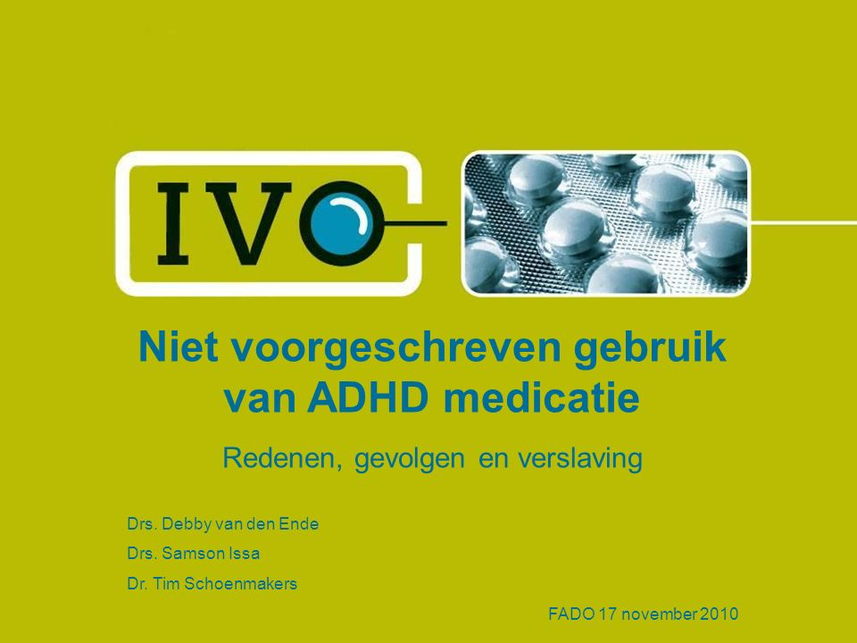 Niet voorgeschreven gebruik van ADHD medicatie