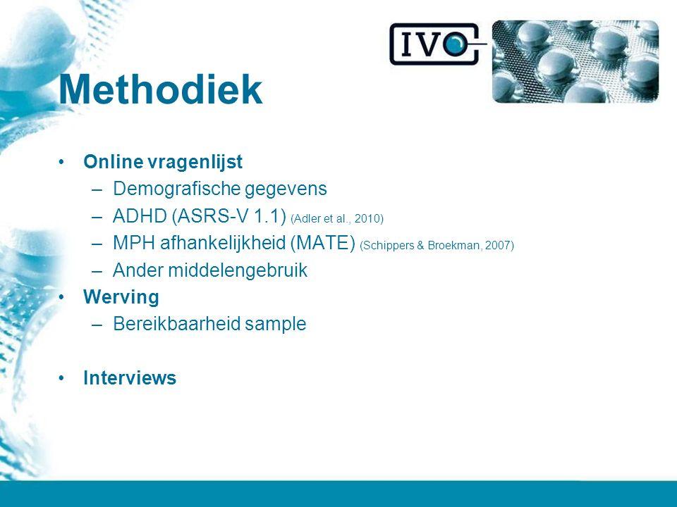 Methodiek Online vragenlijst Demografische gegevens